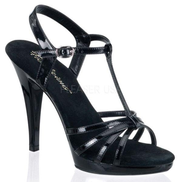 Riemchen Sandalette mit Plateau schwarz Lack Flair-420